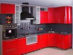 Кухня Москоммебель Угловая красная кухня из пластика Римини