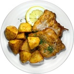 Рыбное филе с картофелем в мундире